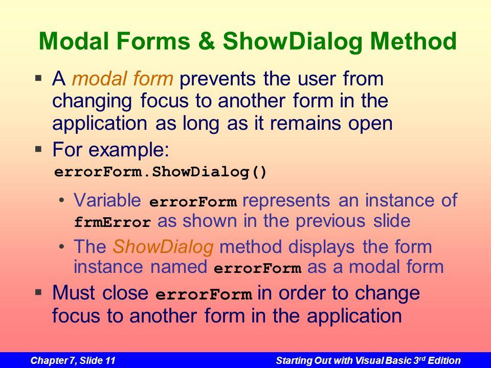 Modal Forms & ShowDialog Method