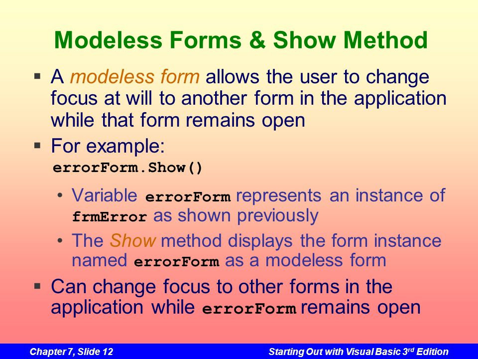 Modeless Forms & Show Method