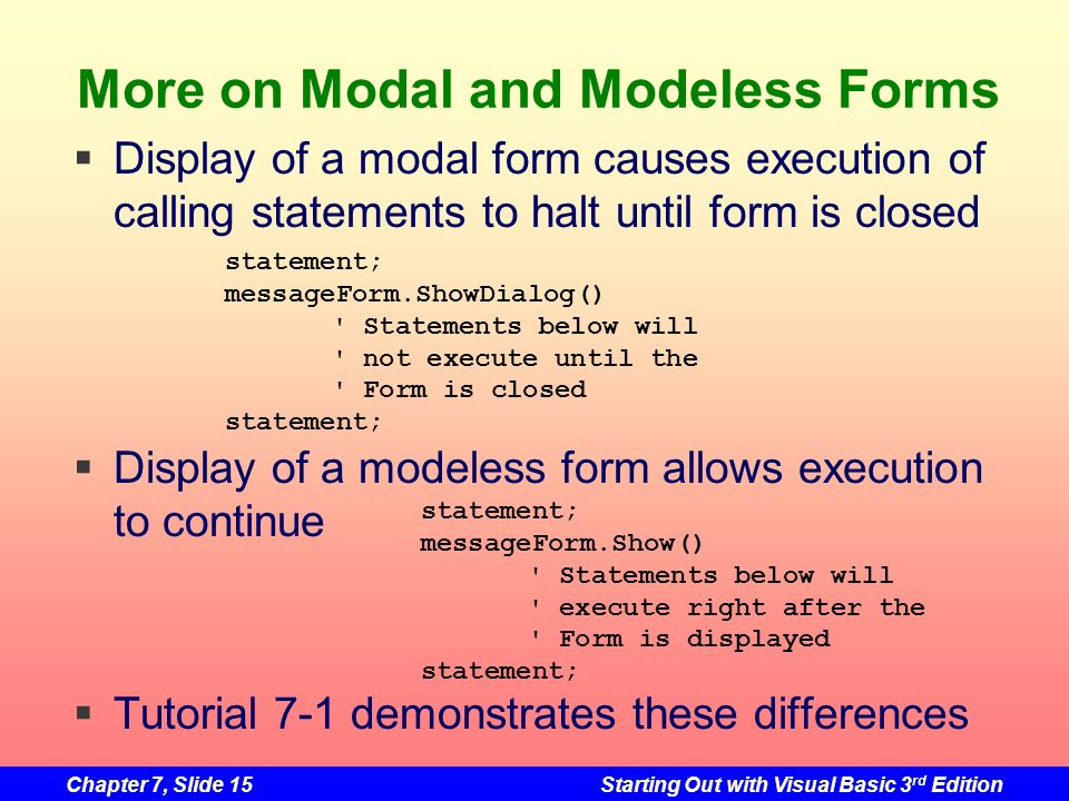 More on Modal and Modeless Forms