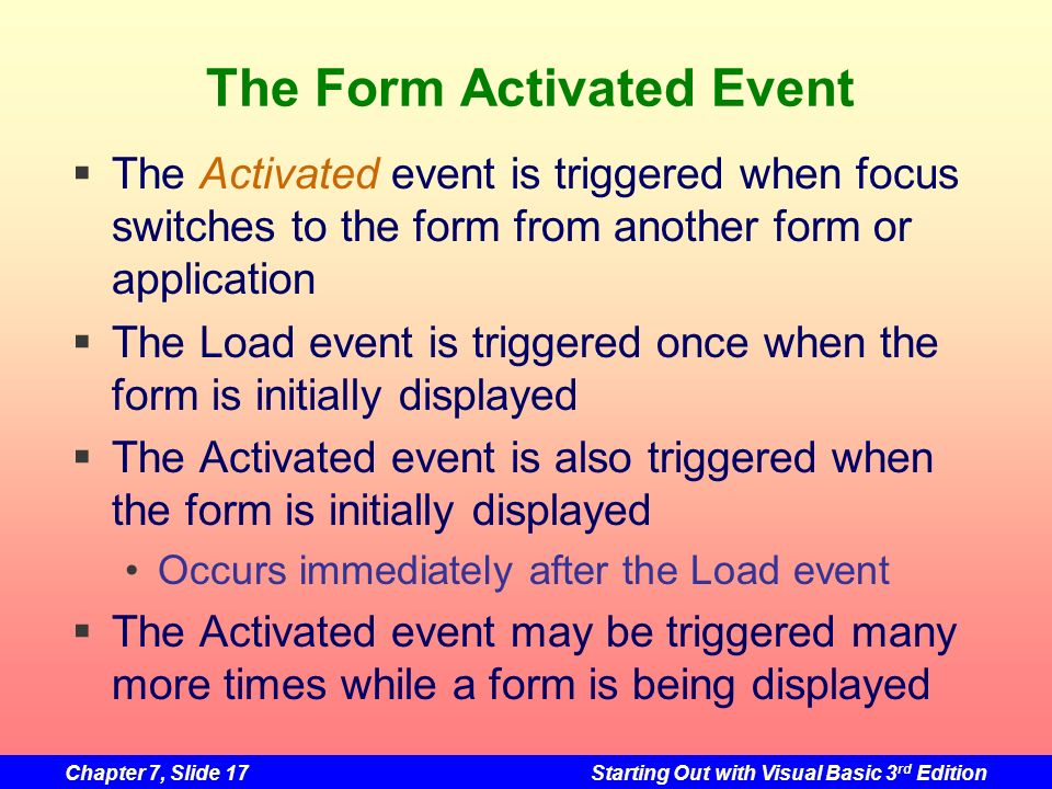 The Form Activated Event