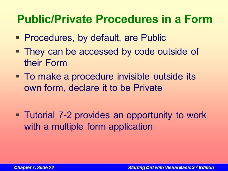 Public/Private Procedures in a Form