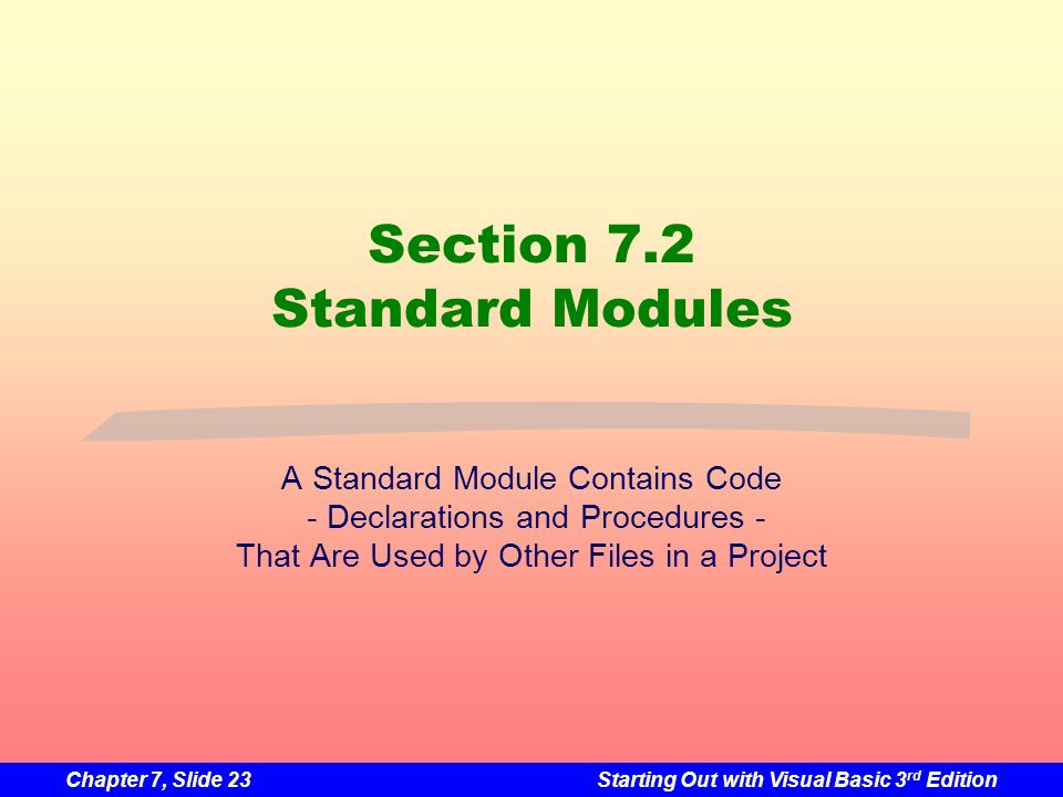 Section 7.2 Standard Modules