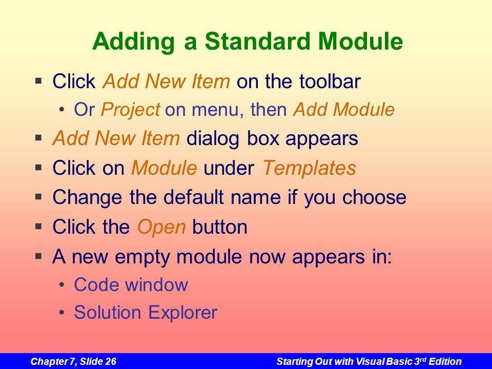 Adding a Standard Module
