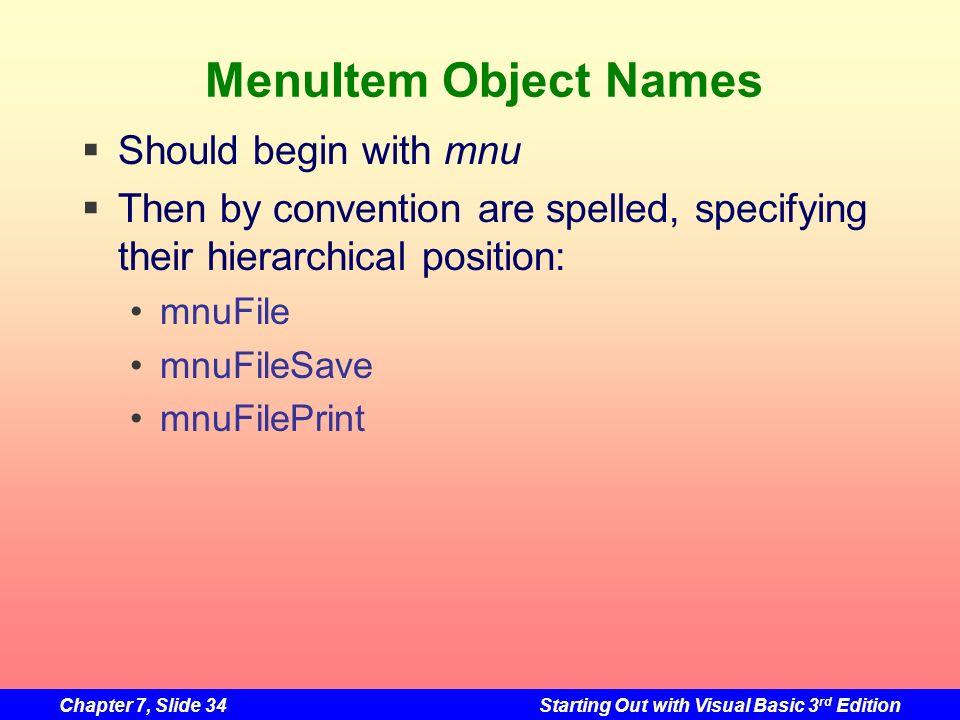 MenuItem Object Names Should begin with mnu