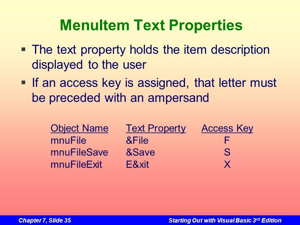 MenuItem Text Properties