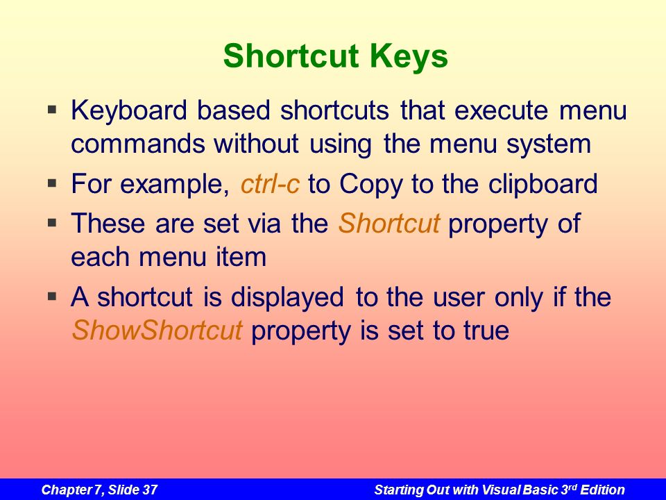 Shortcut Keys Keyboard based shortcuts that execute menu commands without using the menu system. For example, ctrl-c to Copy to the clipboard.