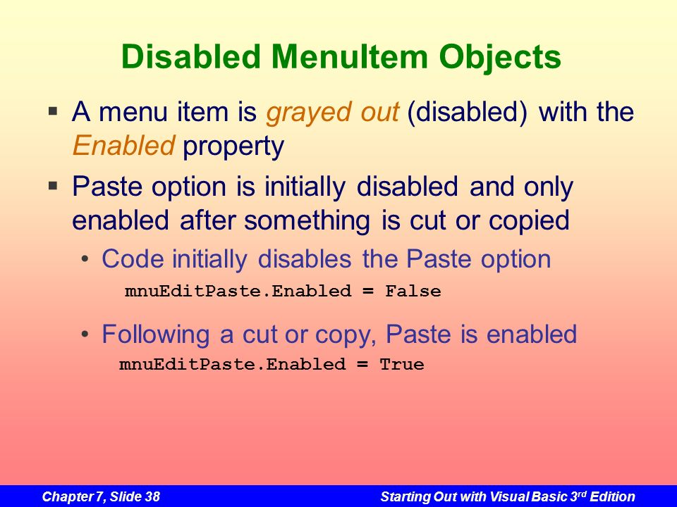 Disabled MenuItem Objects
