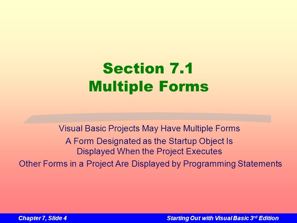 Section 7.1 Multiple Forms