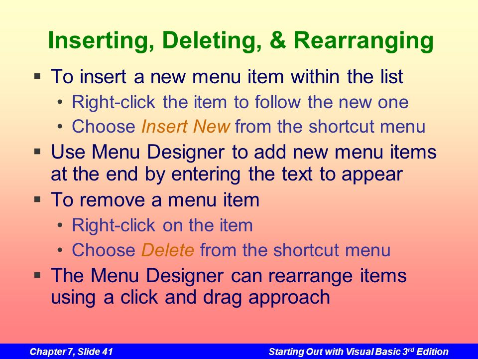 Inserting, Deleting, & Rearranging