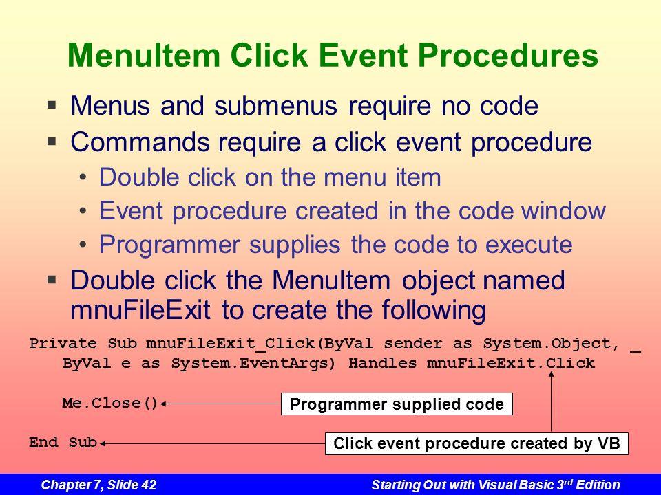 MenuItem Click Event Procedures