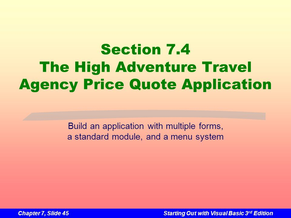 Section 7.4 The High Adventure Travel Agency Price Quote Application
