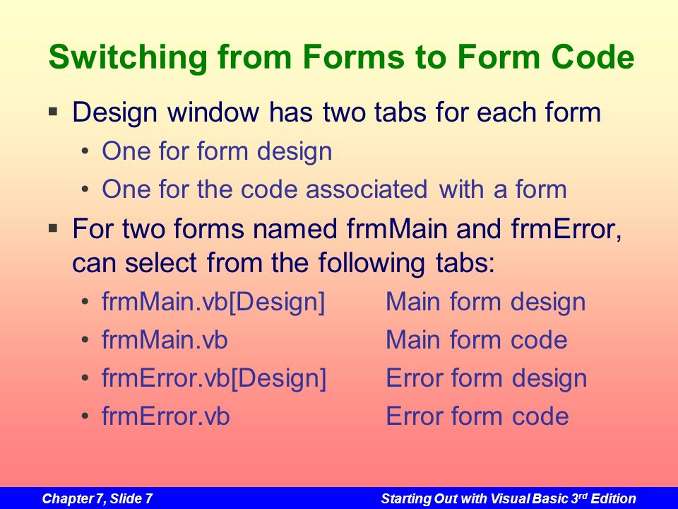 Switching from Forms to Form Code