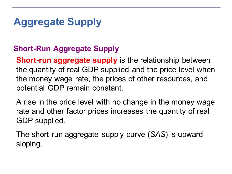 Aggregate Supply Short-Run Aggregate Supply