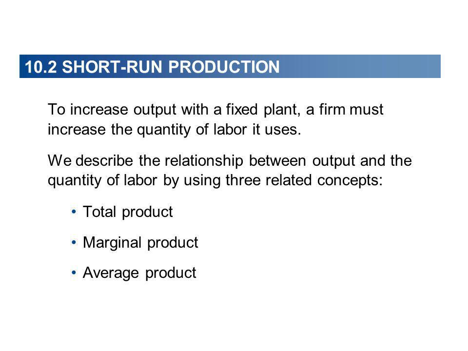 10.2 SHORT-RUN PRODUCTION To increase output with a fixed plant, a firm must increase the quantity of labor it uses.