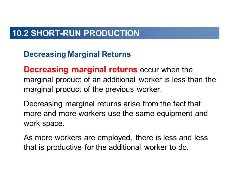 10.2 SHORT-RUN PRODUCTION Decreasing Marginal Returns.