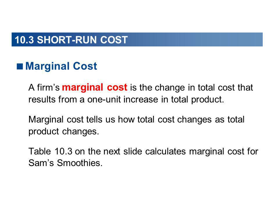Marginal Cost 10.3 SHORT-RUN COST