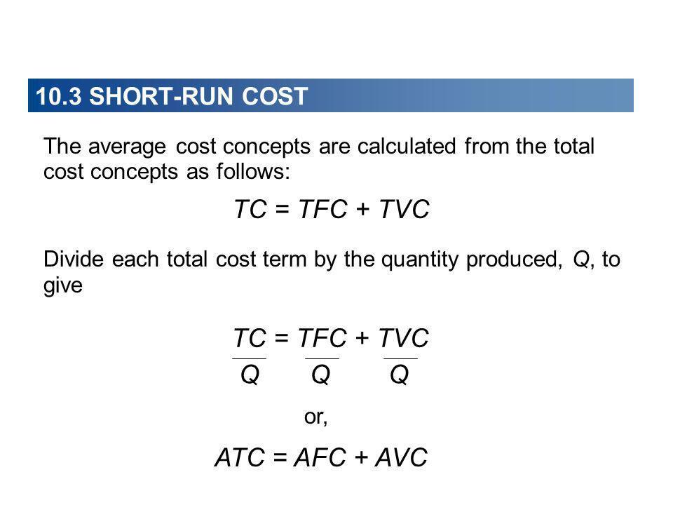 TC = TFC + TVC TC = TFC + TVC Q Q Q ATC = AFC + AVC
