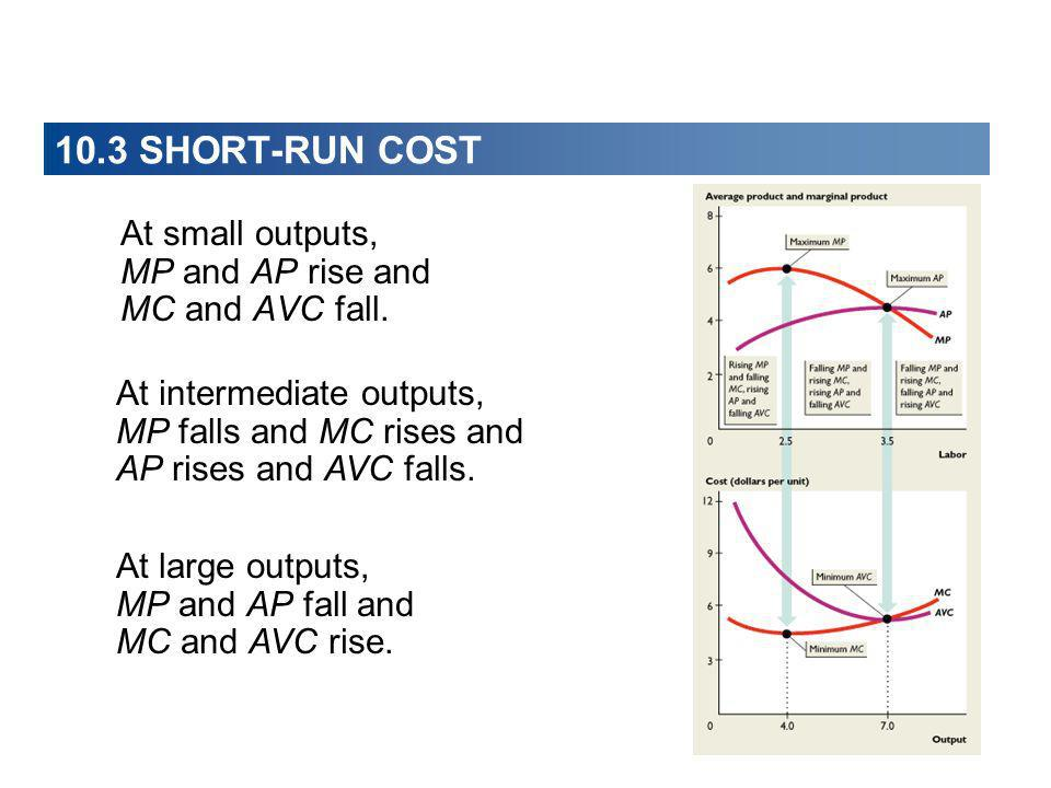 10.3 SHORT-RUN COST At small outputs, MP and AP rise and