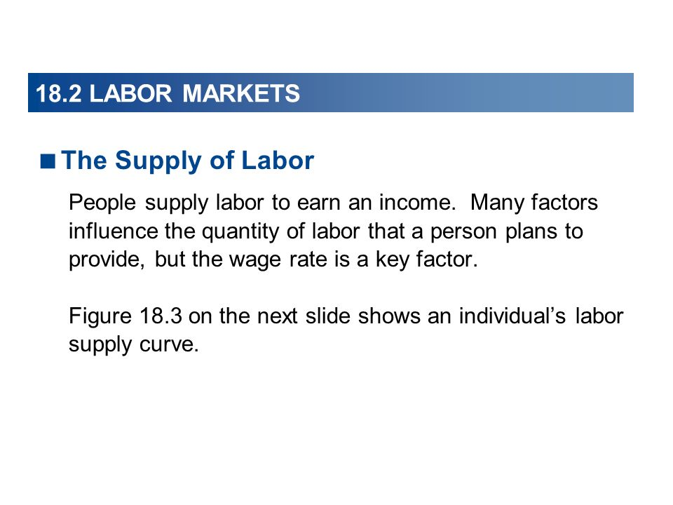 The Supply of Labor 18.2 LABOR MARKETS