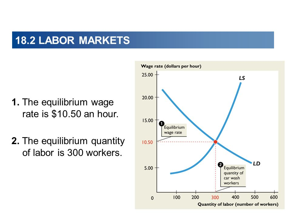 18.2 LABOR MARKETS 1. The equilibrium wage rate is $10.50 an hour.