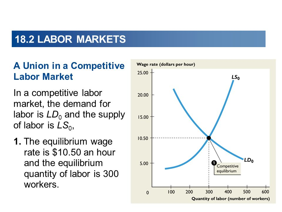 18.2 LABOR MARKETS A Union in a Competitive Labor Market