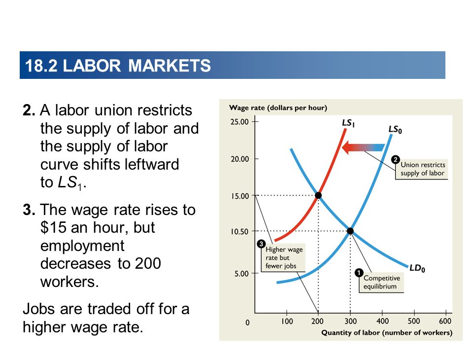 18.2 LABOR MARKETS 2. A labor union restricts the supply of labor and the supply of labor curve shifts leftward to LS1.
