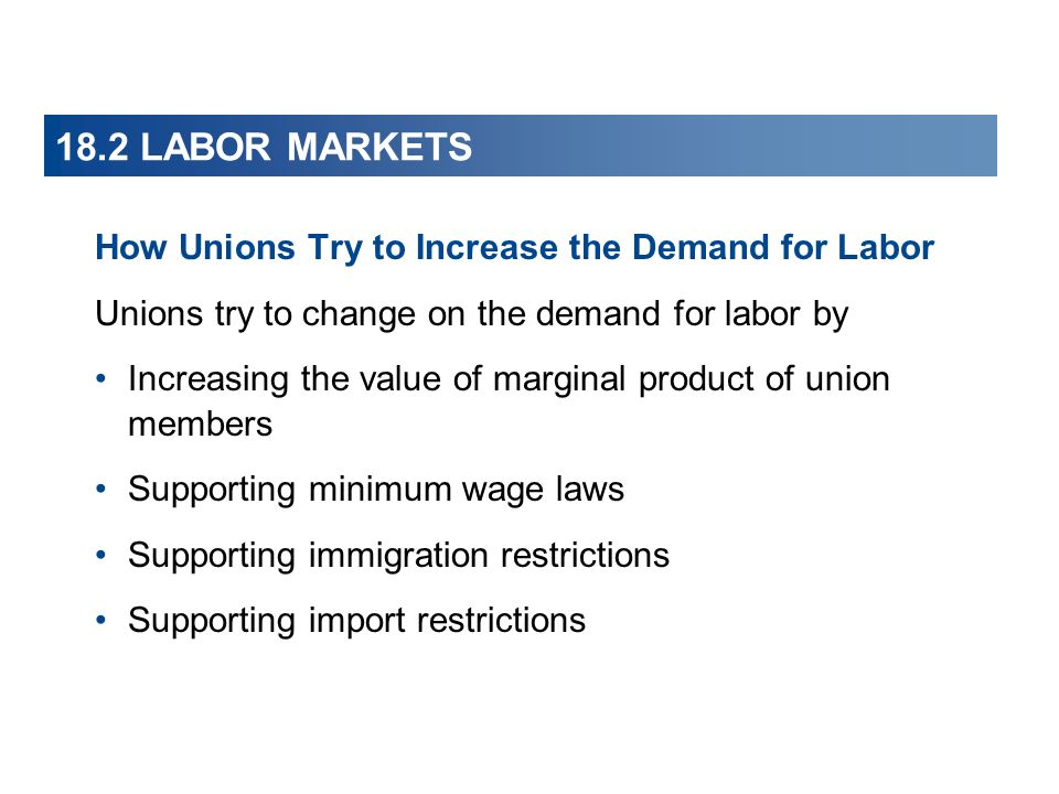 18.2 LABOR MARKETS How Unions Try to Increase the Demand for Labor