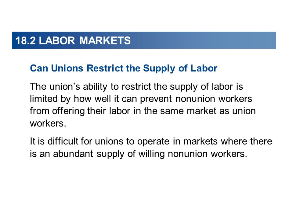 18.2 LABOR MARKETS Can Unions Restrict the Supply of Labor