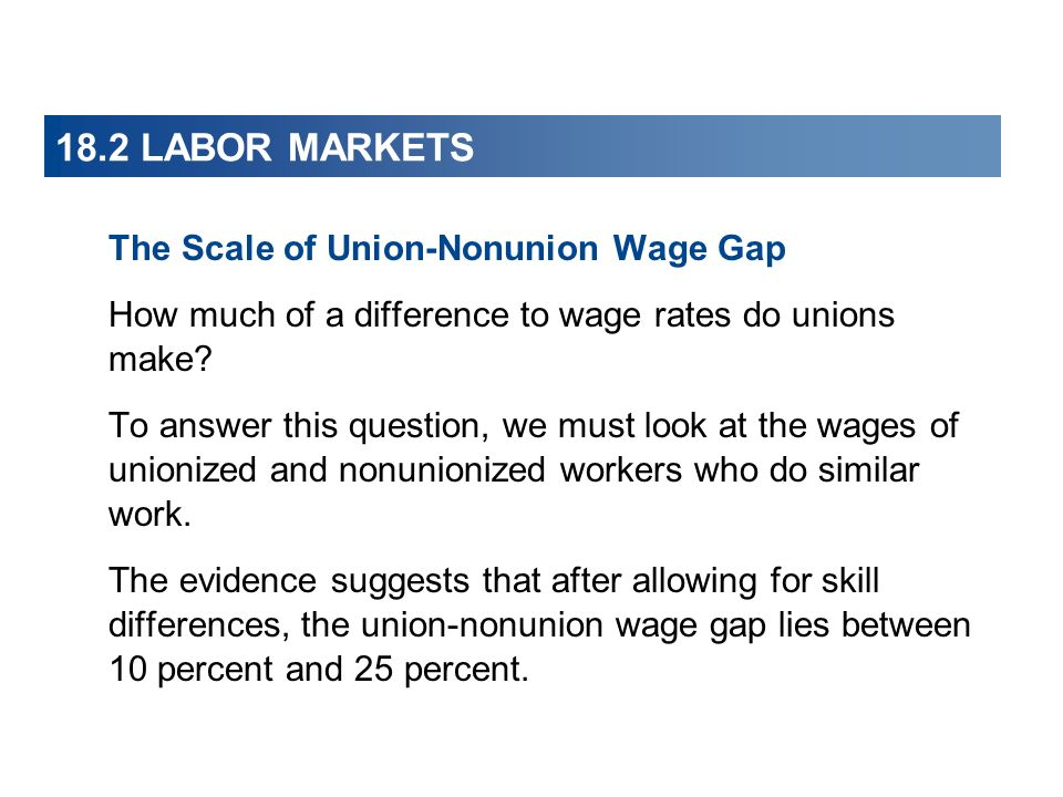 18.2 LABOR MARKETS The Scale of Union-Nonunion Wage Gap