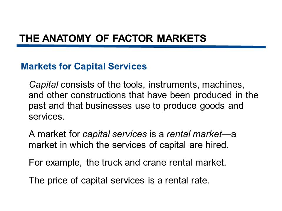 Markets for Capital Services