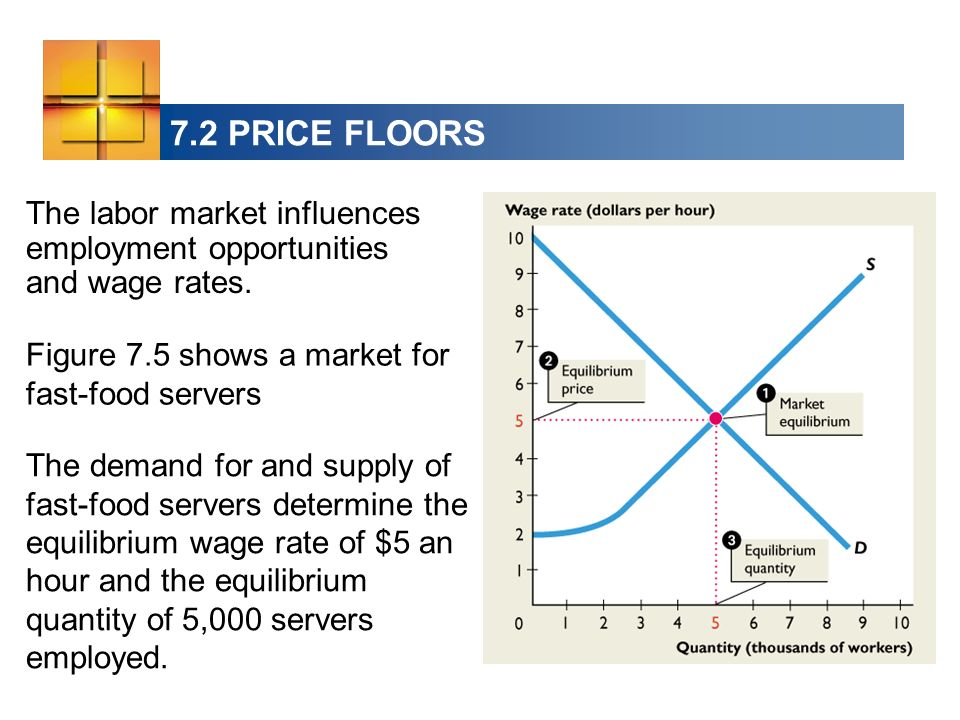 7.2 PRICE FLOORS The labor market influences employment opportunities and wage rates. Figure 7.5 shows a market for fast-food servers.