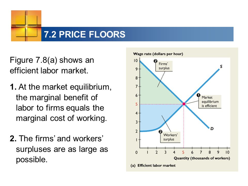 7.2 PRICE FLOORS Figure 7.8(a) shows an efficient labor market.