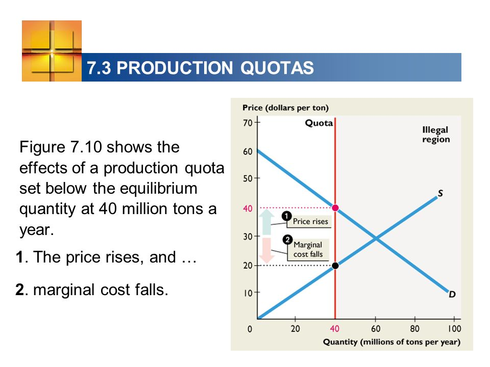 7.3 PRODUCTION QUOTAS Figure 7.10 shows the effects of a production quota set below the equilibrium quantity at 40 million tons a year.