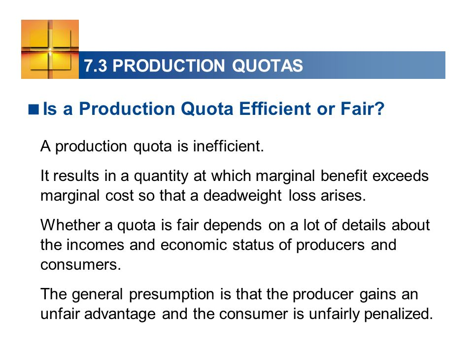 Is a Production Quota Efficient or Fair