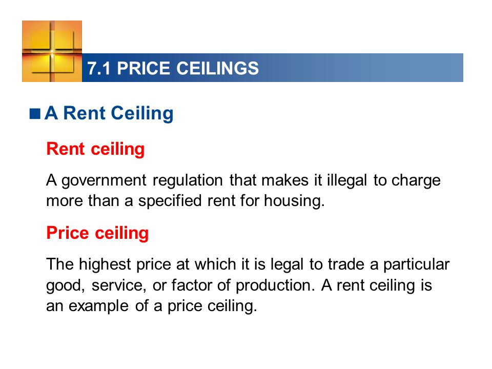 A Rent Ceiling 7.1 PRICE CEILINGS Rent ceiling Price ceiling
