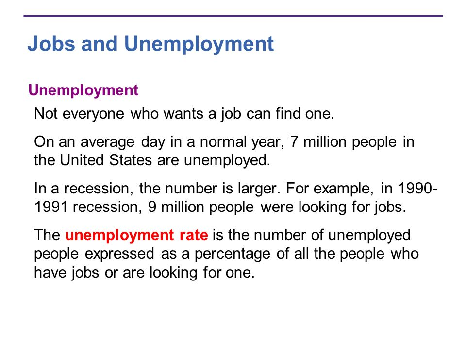 Jobs and Unemployment Unemployment