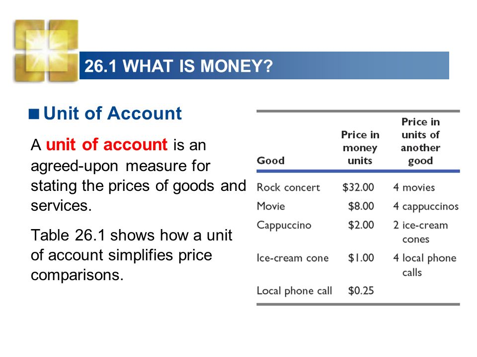 Unit of Account 26.1 WHAT IS MONEY