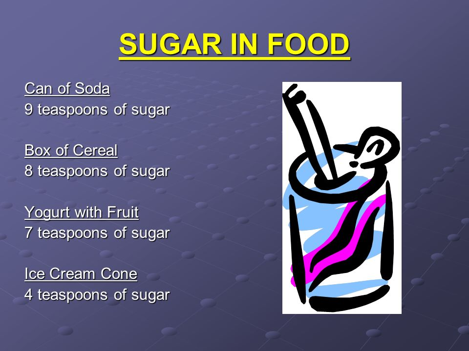 SUGAR IN FOOD Can of Soda 9 teaspoons of sugar Box of Cereal