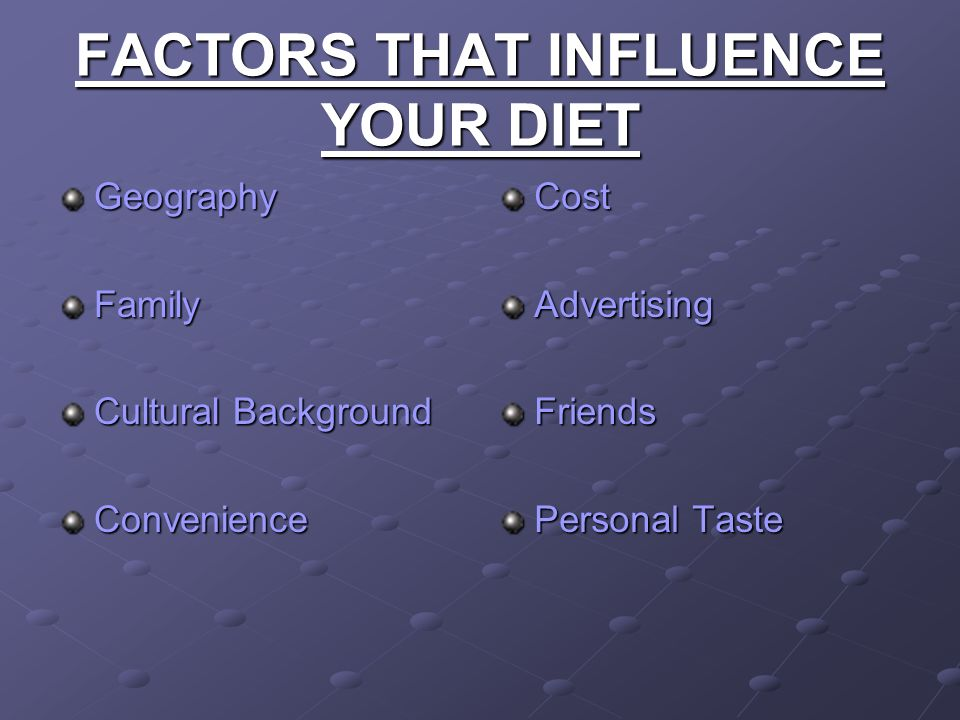 FACTORS THAT INFLUENCE YOUR DIET