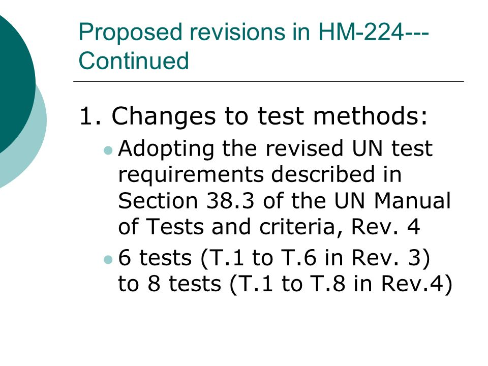 manual of tests and criteria