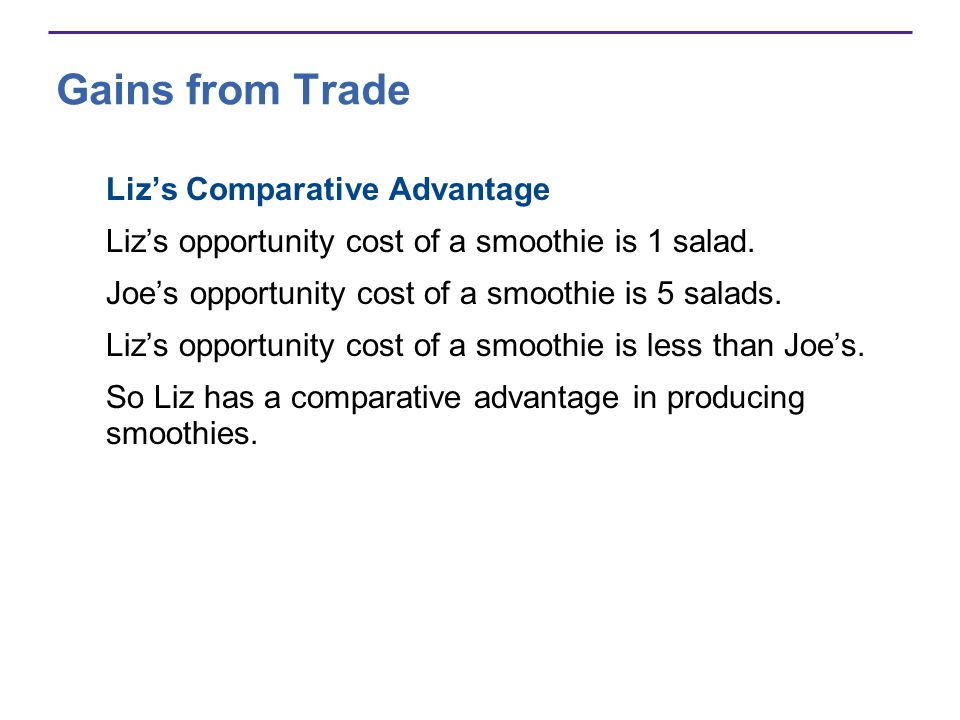 Gains from Trade Liz's Comparative Advantage