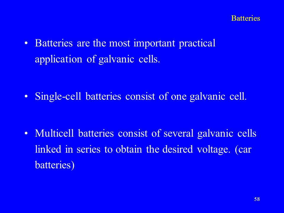 practical application of galvanic cell