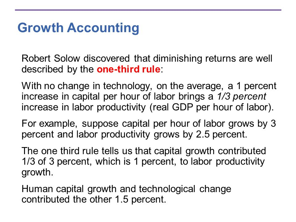 Growth AccountingRobert Solow discovered that diminishing returns are well described by the one-third rule: