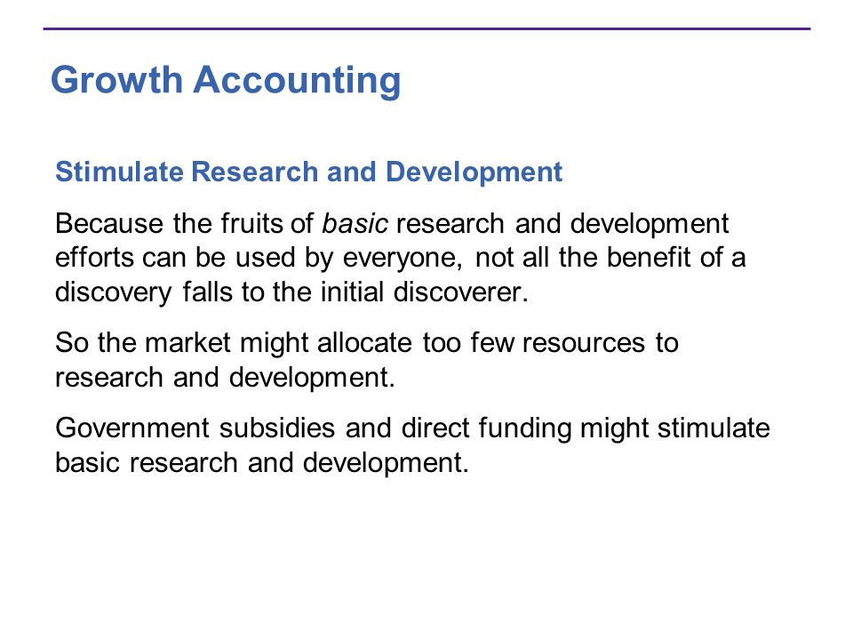 Growth Accounting Stimulate Research and Development
