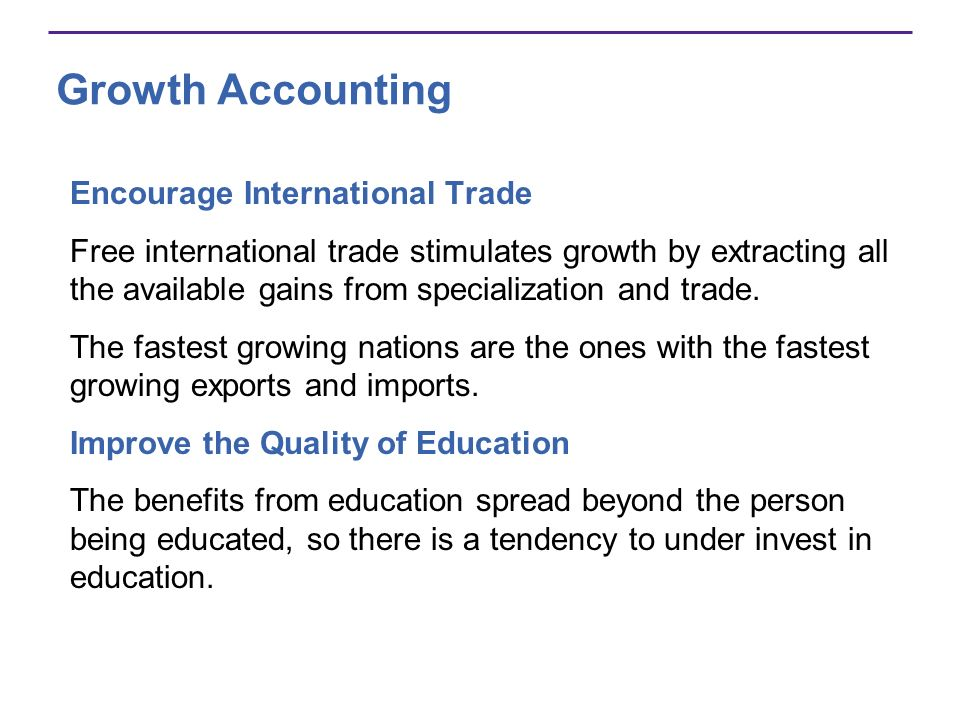 Growth Accounting Encourage International Trade