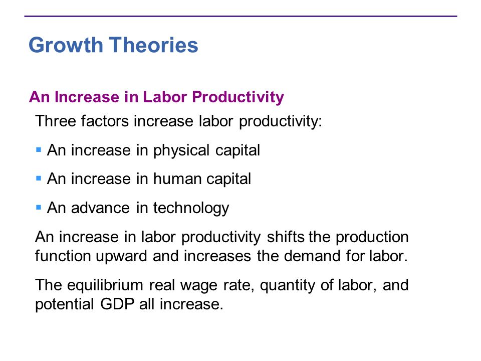 Growth Theories An Increase in Labor Productivity