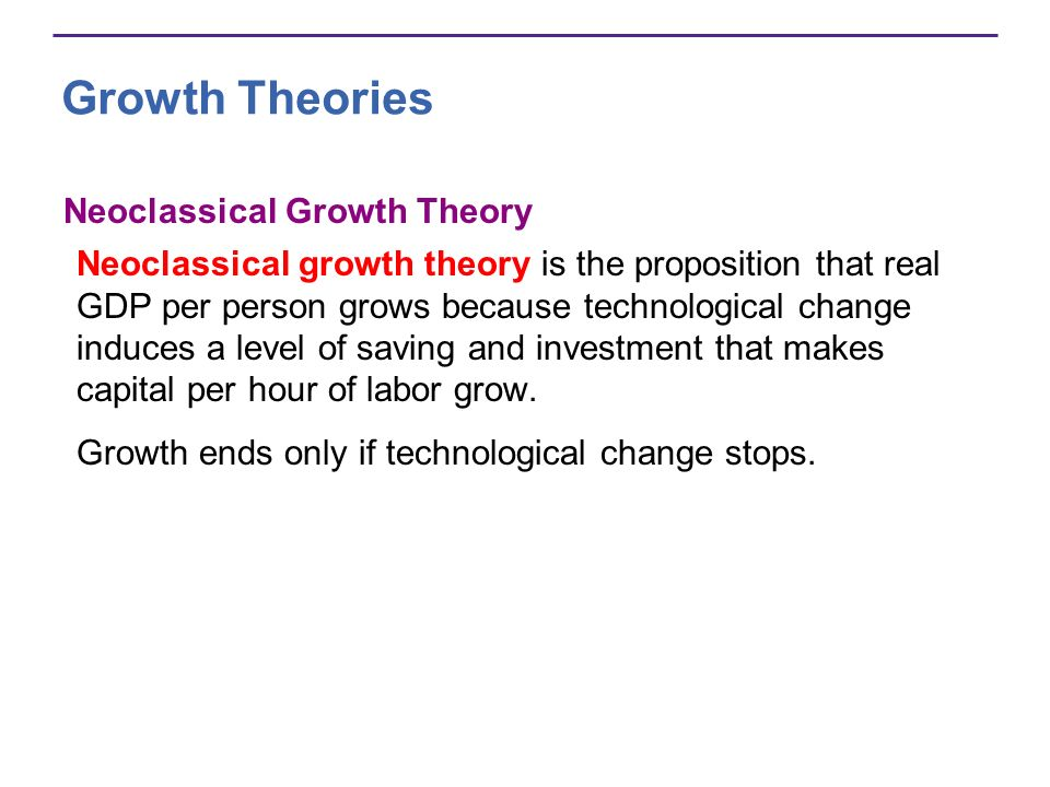 Growth Theories Neoclassical Growth Theory