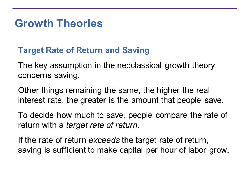 Growth Theories Target Rate of Return and Saving