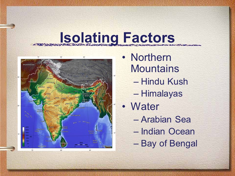 Isolating Factors Northern Mountains Water Hindu Kush Himalayas