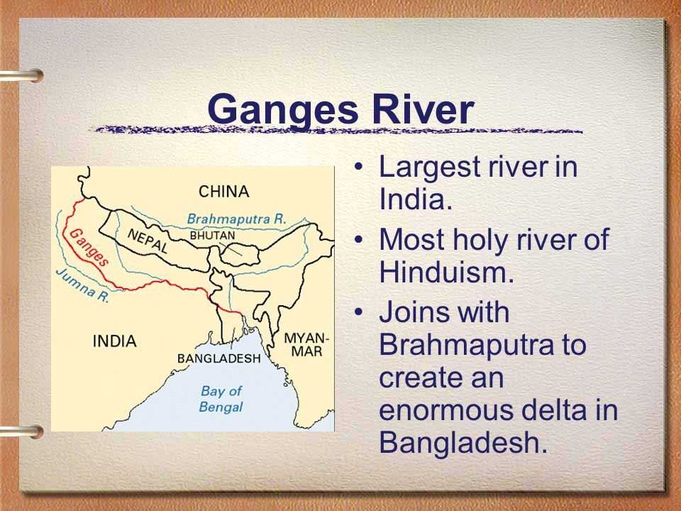 Ganges River Largest river in India. Most holy river of Hinduism.